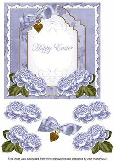 Pale Blue Rose Happy Easter Fancy 7in Decoupage Topper on Craftsuprint - Add To Basket!