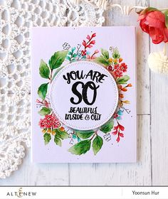 Hello crafty friends! Today I want to share with you my floral wreath card using the Altenew Beautiful Day stamp set.