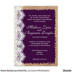 Rustic Burlap Lace Dark Purple Wedding Invitations