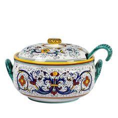 Handmade in Deruta Hand Painted Italian Ceramic Garlic Jar Raffaellesco