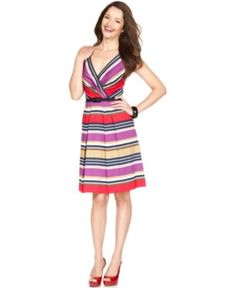 AK Anne Klein Dress, Sleeveless Belted Striped A-Line - Womens Dresses - Macy's