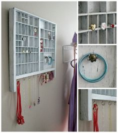 March Daughter's Jewelry Organizer, Tonya Staab - About jewelry organizer diy Wall Organization, Jewelry Organization, Jewellery Storage, Diy Jewelry, Hanging Jewelry, Jewelry Ideas, Jewlery, Wooden Drawers, Trash To Treasure