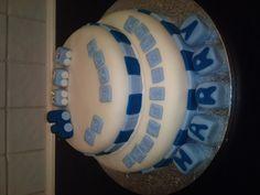 Boys simple train christening cake