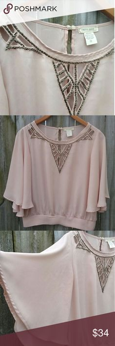 Pretty Good top size- Med -blush -neck beading Pretty Good blouse Size medium Blush pink Neck beading Flowing bell sleeves Band around bottom Bust-21-flat lay Length-20 Pretty Good Tops Blouses