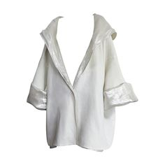 1980's ZORAN White/Silver hooded reversible jacket   From a collection of rare vintage jackets at https://www.1stdibs.com/fashion/clothing/jackets/