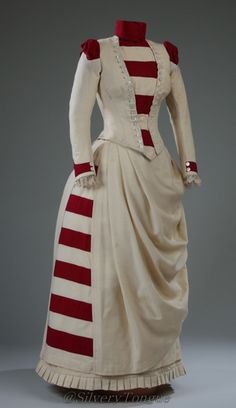 Dress  c. 1887. This would be a beautiful dress for Christmas!