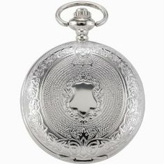 AMPM24 Mens Eden & Paradise Pattern Silver Pendent White Dail Pocket Watches with Chain AMPM24. $18.80
