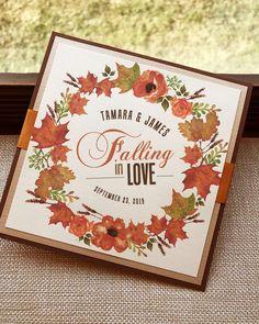 Falling in Love Watercolor Autumn Fall Leaf Flower Floral Foilage Wreath Orange Rust Pumpkin Brown Modern Square Wedding Invitation - Sample by envymarketing on Etsy
