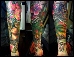 Location - Gold Rush Tattoo, Costa Mesa - I love the bright colours that have been used, the shading's been done in a way where every picture pops out at you. Piercing Tattoo, Hawaiianisches Tattoo, Cover Tattoo, Bild Tattoos, Neue Tattoos, Body Art Tattoos, Cool Tattoos, Tatoos, Hawaiian Flower Tattoos