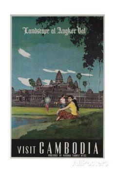 Landscape of Angkor Wat, Visit Cambodia 1950s Travel Poster Impressão giclée
