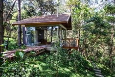 Lovely walkways and secluded private rooms makeup the beautiful Brazilian home
