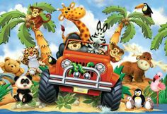 is a 24 piece floor puzzle for kids by Ravensburger. Jigsaw Puzzles For Kids, Safari Adventure, Forest Wallpaper, Kids Store, Zebras, Softies, Bowser, Action Figures, Canvas Prints