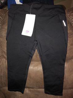 Women's Black High Waist Fitness Capri Yoga Pants (Large) w/ Back Waist Pocket  | eBay