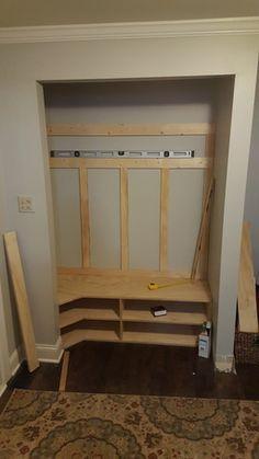 Closet Bench, Front Hall Closet, Closet Nook, Closet Redo, Hallway Closet, Closet Mudroom, Entry Closet Organization, Closet Ideas, Closet Renovation
