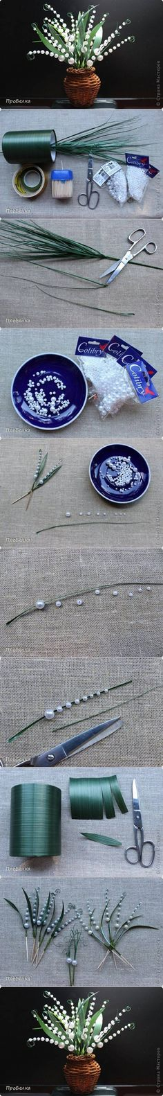 DIY Beautiful Beaded Lily of the Valley #craft #beading #decor