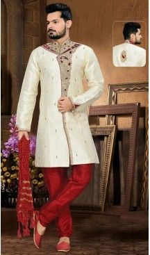 Cream Color Sherwani in Jacquard Fabric