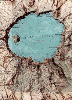 I love this map of Crater Lake, Oregon...if you haven't visited Crater Lake, you are in for a real treat!  Put it on your Bucket List.