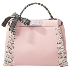 Fendi Peekaboo Ribbon-Laced Leather Satchel (66.689.965 IDR) ❤ liked on Polyvore featuring bags, handbags, bags /, kirna zabete, shoulder bags, pink leather purse, leather shoulder bag, top handle satchel handbags, leather purses and leather satchel handbags