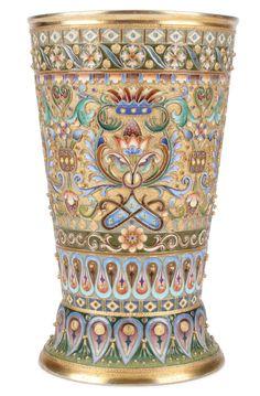 Russian silver gilt and enameled beaker.