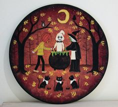 Halloween Folk Art Hand Painted Wood Plate,  Primitive Painting, Witch, Ghost, Pumpkinhead,  Black Cats Waiting for Dinner,  READY TO SHIP