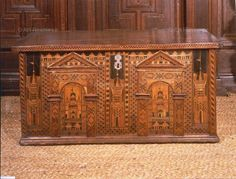 Once located in the north choir aisle, in Southwark Cathedral, this magnificent chest was given to the church to contain parish records in the year of the Armada, 1588. Victoria and Albert Museum, London, Great Britain.