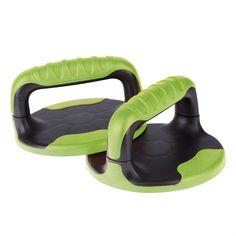 Podpěry pro cvičení kliků Stabilní podpěry o průměru 17,6 cm. pohodlný, protiskluzový, široký úchyt s možnosti odmontování. Posílení ramen, rukou a prsních svalů. Kvalitní materiál, který nesaje vlhkost. Spodní strana materiálu ABS-u.