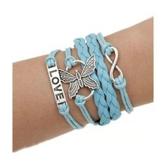 Butterfly blue wrap charm love bracelet MyFriendShop ($6.99) ❤ liked on Polyvore featuring jewelry, bracelets, blue jewelry, blue bangles, butterfly jewelry, charm bangle and charm jewelry