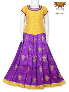 Beautiful Banarasi silk skirt with all over thread embroidery motifs teamed up with contrast Mulberry bhutta top. It's a perfect ethnic wear for your little one this festive season. Kids Pattu Pavadai, Kids Blouse Designs, Kids Frocks Design, Silk Lehenga, Frock Design, Lehenga Designs, Girls Wardrobe, Half Saree, Indian Ethnic Wear