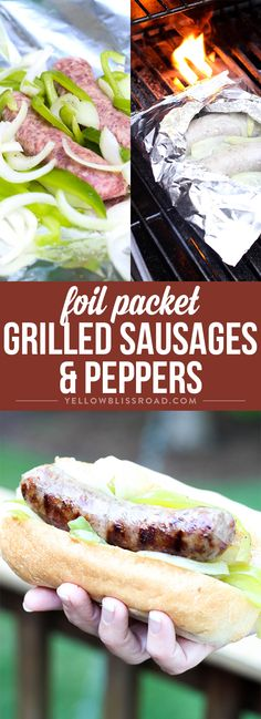 Foil Packet Grilled Sausage & Peppers - A satisfying grilled dinner that is perfect for feeding a crowd at a backyard barbecue and easy enough for a weeknight dinner. via @yellowblissroad