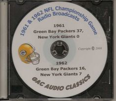 1961 & 1962 Green Bay Packers NFL Title Game broadcasts in MP3 Format #GreenBayPackers