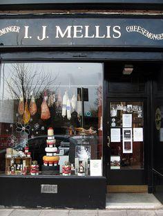 I.J. Mellis Cheesemongers.  Quaint cheese shop in Edinburgh, Scotland.   ASPEN CREEK TRAVEL - karen@aspencreektravel.com