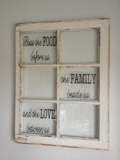Dining room old window repurpose sign