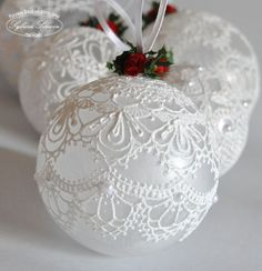 Make the most beautifully handmade Christmas lace ornaments for a more nostalgic note in the home's Christmas decorations during the holidays. Christmas Ornaments To Make, Homemade Christmas, Christmas Holidays, Christmas Decorations, Christmas Vacation, Christmas Bells, Victorian Christmas Ornaments, Christmas Candle, Silver Christmas