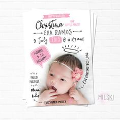Modern typography doodle birth announcement printable // by MilskiDesigns  Perfect for a little newborn baby girl.