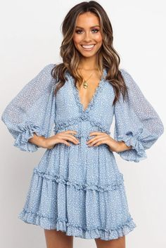 Shop Latest Trendy Online Sky Blue Ruffle Detailing Open Back Floral Dress Fall Dresses, Sexy Dresses, Blue Dresses, Summer Dresses, Floral Dresses, Beaded Dresses, Chiffon Ruffle, Ruffle Dress, Ruffles