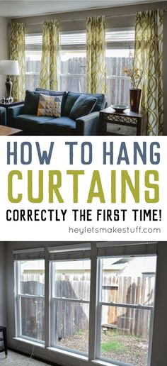 How to Hang Curtains – A Quick Tutorial Hanging curtains doesn't have to be a pain! Learn how to hang curtains straight — and keep the curtain rod from coming out of the wall! Cortinas Shabby Chic, Rideaux Shabby Chic, Shabby Chic Curtains, Farmhouse Curtains, Rustic Curtains, Brown Curtains, Decorative Curtains, Short Curtains, Striped Curtains