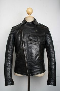 Vtg 1940s BUCO PJ-27 Leather HORSEHIDE POLICE Motorcycle Jacket Small Stunning RARE 'White Label' by Joseph Buegeleisen Co