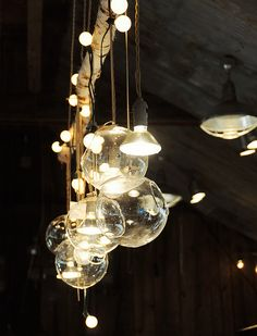 lighting, hanging terrarium, fill some with tea lights and others with plants
