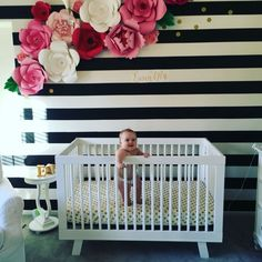 Beautiful stripe wall with paper flowers! Perfect for a nursery room or any room! Designer Paper flowers by interiordesign Baby Room Decor, Nursery Room, Girl Nursery, Girls Bedroom, Nursery Decor, Nursery Ideas, Nursery Themes, Baby Girl Bedroom Ideas, Baby Room Ideas For Girls