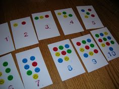 Sunday night I threw together a quick number recognition activity for Nim. I worked with her on it Monday and she loved it! It was simple, inexpensive and turned out to be great practice for counting as well as number recognition.Step 1: I stuck smil