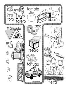 Coloring page with Spanish words with the letter T! Preschool Spanish, Elementary Spanish, Spanish Classroom, Teaching Spanish, Name Activities, Kindergarten Activities, Alphabet Activities, Speech Language Therapy, Speech And Language