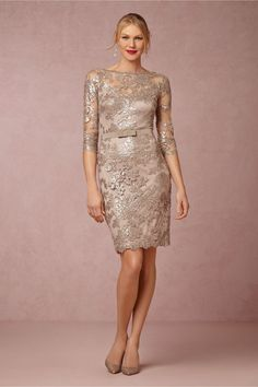 Silver cocktail length mother of the bride dress with sleeves Liv Dress from BHLDN