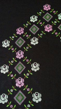 This Pin was discovered by HUZ Mini Cross Stitch, Cross Stitch Flowers, Embroidery Patterns, Cross Stitch Patterns, Bed Cover Design, Kutch Work, Prayer Rug, Cross Stitching, Diy And Crafts