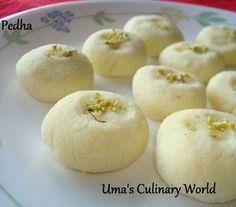 Umas Culinary World: Ricotta Cheese Pedha / Peda Healthy Indian Recipes, Indian Dessert Recipes, Desert Recipes, Indian Sweets, Indian Snacks, Kalakand Recipe, Peda Recipe, Milk Recipes, Sweet Recipes