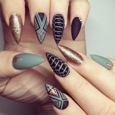 Matte black and gray alligator skin design with gold glitter accent nails and rhinestones stiletto nails
