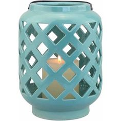 Coastal Style Beach Decor, from Walmart - Indoor/Outdoor Ceramic lantern in Aqua - Fox Hollow Cottage blog shares affordable shopping ideas at foxhollowcottage