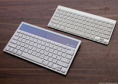 The Logitech Wireless Solar Keyboard K760 has a sleek and stylish design that complements Apple products.