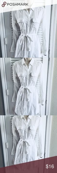 White Linen Shirt Dress from Gap Breezy feminine shirt dress from the Gap! NWOT! GAP Dresses Long Sleeve