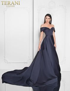 7683610b91a8 Off shoulder sweetheart neckline special event gown with exaggerated train  detail. Evening Dresses Online,