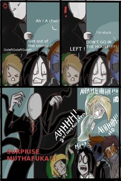 The first time I drawed it with characters from Creepypasta! Nobody, except Slenderman, don't know that the little girl made doll. Creepypasta Comics, Creepypasta Proxy, Creepypasta Cute, Jeff The Killer, Creepy Pasta Family, Memes, Laughing Jack, Go To Sleep, Funny Comics